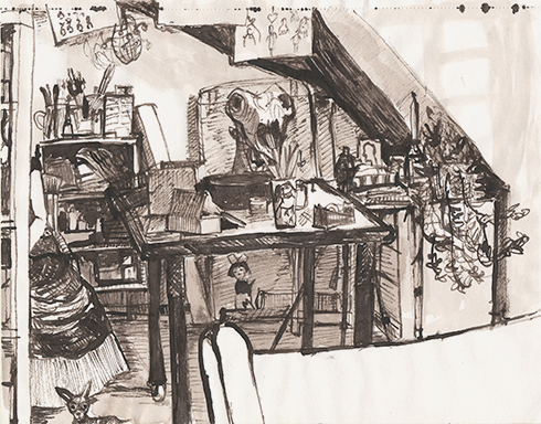 Frida in meinem Atelier